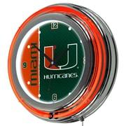 Trademark Global University of Miami Chrome Double Rung Neon Clock, Text (MIA1400-TXT)