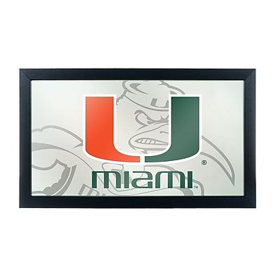 Trademark Global University of Miami Framed Logo Mirror with Sebastian, Fade (MIA1500-FADE)