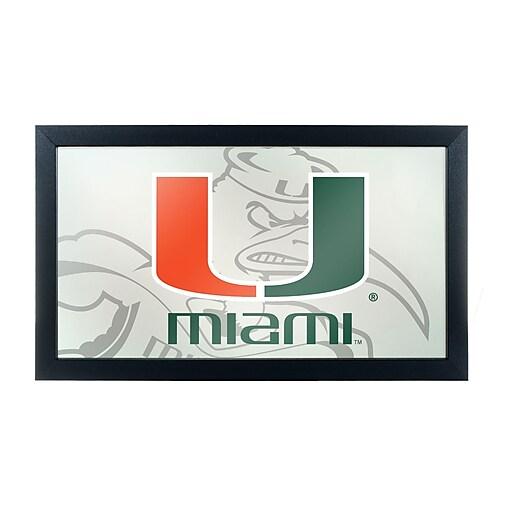 Trademark Global University of Miami Framed Logo Mirror with Sebastian, Fade (MIA1500-FADE)