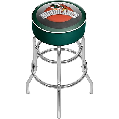 Trademark Global University of Miami Sebastian Chrome Bar Stool with Swivel, 31