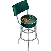 "Trademark Global 41.75""H University of Miami Swivel Bar Stool with Back, Reflection (MIA1100-REF)"