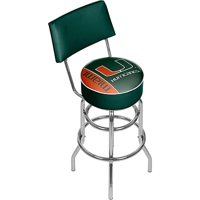 Trademark Global University of Miami Swivel Bar Stool with Back, Text, 41.75