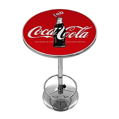 Trademark Global Coca-Cola Chrome Pub Table, 100th Anniversary of the Coca-Cola Bottle (COKE-2000-V100)