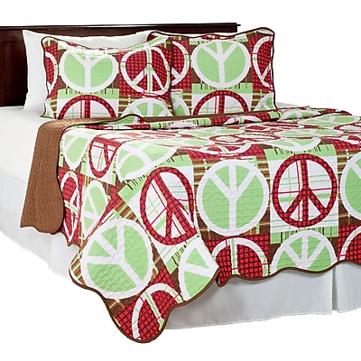 Lavish Home 3 Piece Peace Quilt Set, King, Brown/Red (66-10036-R-K)