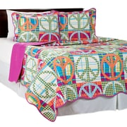 Trademark Global Lavish Home 2 Piece Peace Quilt Set, Twin, Pink (66-10036-P-T)
