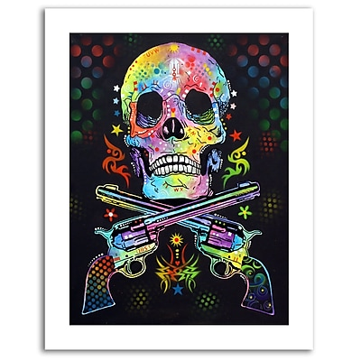 "Trademark Global Dean Russo 'Skull and Guns' Paper Art, 18""L x 24""W (ALI0256-1824-P)"