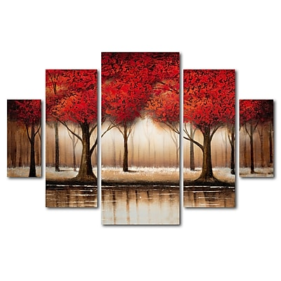 Trademark Global Rio 'Parade of Red Trees' Multi-Panel Art Set 40