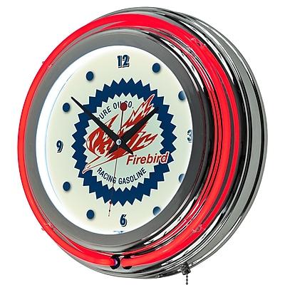 Trademark Global Pure Oil Chrome Double Rung Neon Clock, Firebird (AR1400-PURE)
