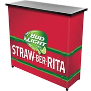 Trademark Global Bud Light Straw-Ber-Rita 2 Shelf Portable Bar with Case (AB8000-SBR)
