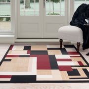 Lavish Home Modern Block Area Rug 8'x10' - Black & Red (62-56158BR-810)