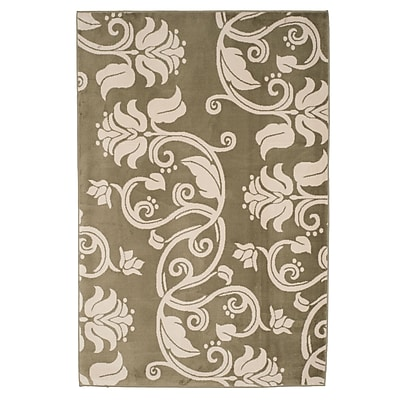 Trademark Global Lavish Home Green/Ivory Floral Scroll Area Rug, 5' x 7'7