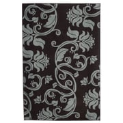"Trademark Global Lavish Home Scroll Area Rug, 5'L x 7'7""W, Brown and Blue Floral (62-56237BB)"