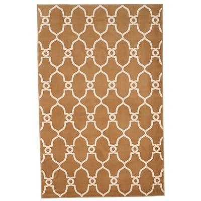 Trademark Global Lavish Home Dark Beige/Ivory Lattice Area Rug, 5' x 7'7