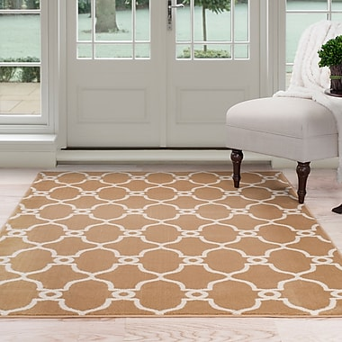 Lavish Home Lattice Area Rug 8'x10' - Dark Beige & Ivory (62-7656GC-810)