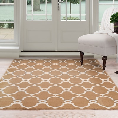 Lavish Home Lattice Area Rug - Dark Beige & Ivory - 3'3