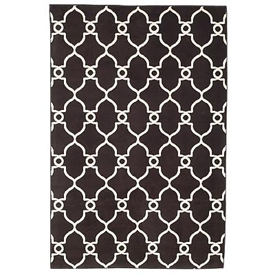 Trademark Global Lavish Home Dark Brown/Ivory Lattice Area Rug, 5' x 7'7