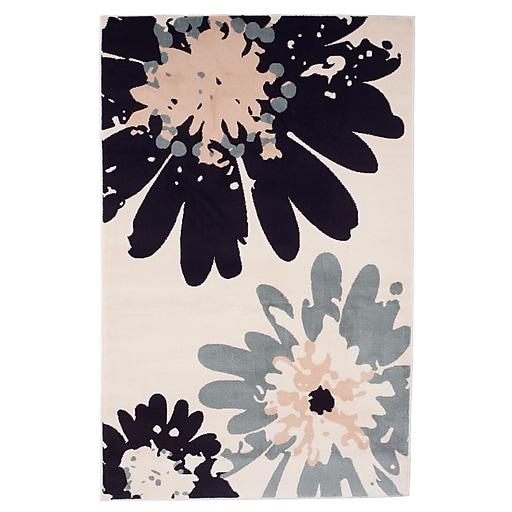 "Trademark Global Lavish Home Flower Area Rug, 5' x7'7"" (62-243I)"
