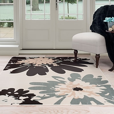 Lavish Home Flower Area Rug 8'x10' - Blue & Ivory (62-243I-810)