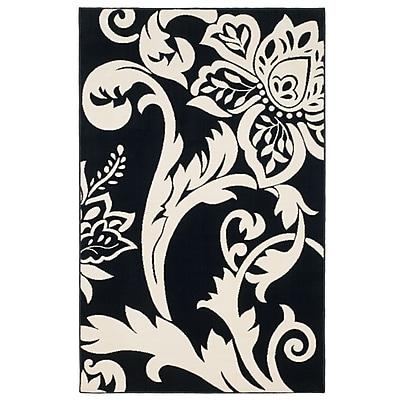 Trademark Global Lavish Home Black/Ivory Floral Area Rug, 5' x7'7