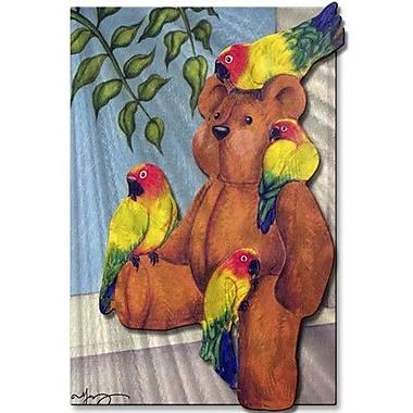 All My Walls 'Teddy Bear Windowsill' by Melanie Jerdon Painting Print Plaque
