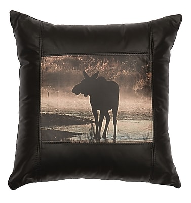 Wooded River Moose Hollow Moose Leather Throw Pillow
