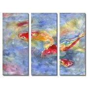 All My Walls 'Koi Fish in Water' by Stephanie Kriza 3 Piece Painting Print Plaque Set