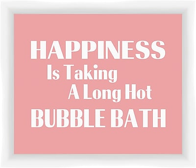 PTM Images Happiness Is Taking a Long Hot Bubble Bath Gicl e Framed Textual Art
