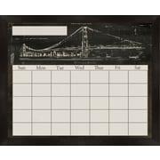 PTM Images Brooklyn Bridge Framed Calendar/Planner Glass Dry Erase Board