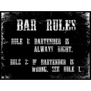 PTM Images Bar Rules Textual Art Plaque