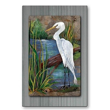 All My Walls 'Egret on Slate' by Elaine Hodges Painting Print Plaque