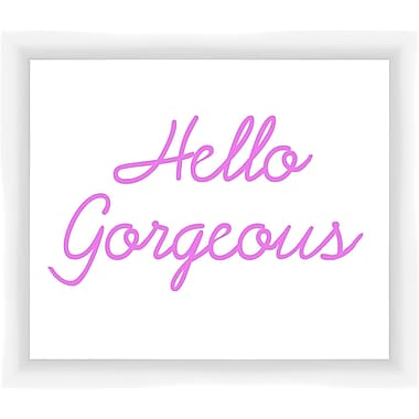 PTM Images Hello Gorgeous Gicl e Framed Textual Art in Pink