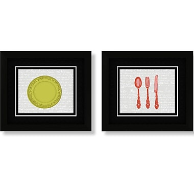 PTM Images Plate and Utensil 2 Piece Framed Graphic Art Set