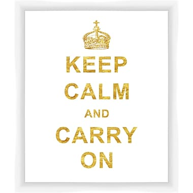 PTM Images Keep Calm and Carry On Gicl e Framed Textual Art in Gold