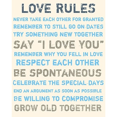 PTM Images Love Rules Textual Art on Canvas in Blue and Gold; 40'' H x 30'' W x 1.5'' D