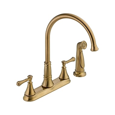Delta Cassidy Double Handle Deck Mounted Kitchen Faucet w/ Spray; Brilliance Champagne Bronze