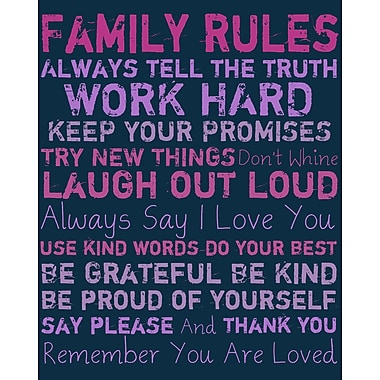 PTM Images Family Rules Textual Art I on Wrapped Canvas