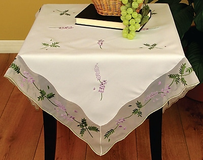 Xia Home Fashions Lavender Embroidered Table Topper
