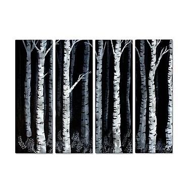 All My Walls 'Moonlit Aspens' by Rachael Caringella 4 Piece Graphic Art Plaque Set