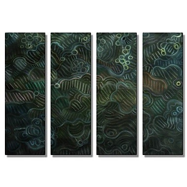 All My Walls 'Night Lights' by Elohim Sanchez 4 Piece Painting Print Plaque Set