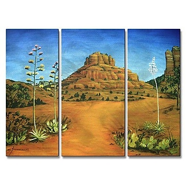 All My Walls 'Sedona Bell Rock' by Jerome Stumphauzer 3 Piece Painting Print Plaque Set