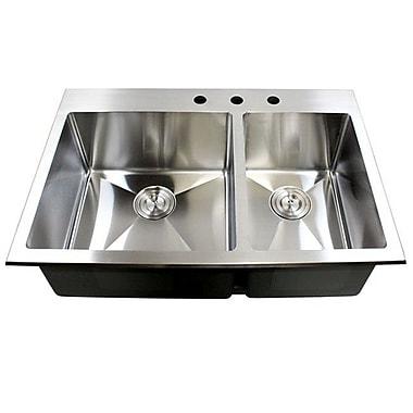eModern Decor 33'' x 22'' Double Bowl Kitchen Sink