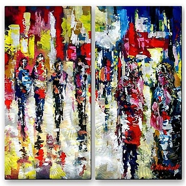 All My Walls 'Bright City Streets' by Claude Marshall 2 Piece Painting Print Plaque Set