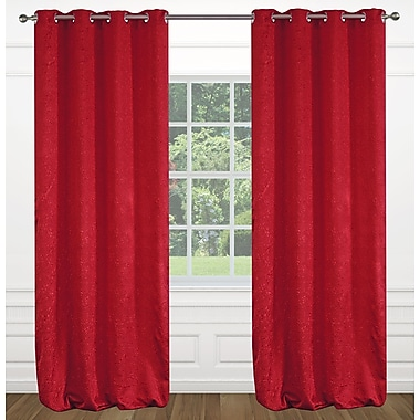 LJ Home Raindrops Abstract Geometric Floral Grommet Panel Pair (Set of 2); Red