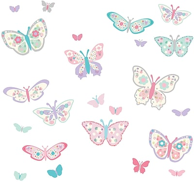 Brewster Home Fashions WallPops Flutterby Butterflies Applique Wall Decal Kit
