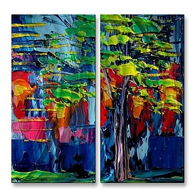 All My Walls 'Faces of the City LXXXV' by Aja-Ann Soura 2 Piece Painting Print Plaque Set