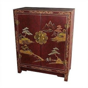 Oriental Furniture Japanese Crackle Lacquer Accent Cabinet