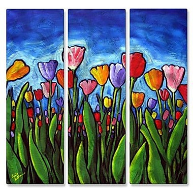 All My Walls 'Colorful Tulips' by Renie Britenbucher 3 Piece Painting Print Plaque Set