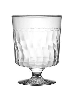 Fineline Settings, Inc Flairware Rippled Disposable Plastic 8 oz. Wine Glass (240/Case)