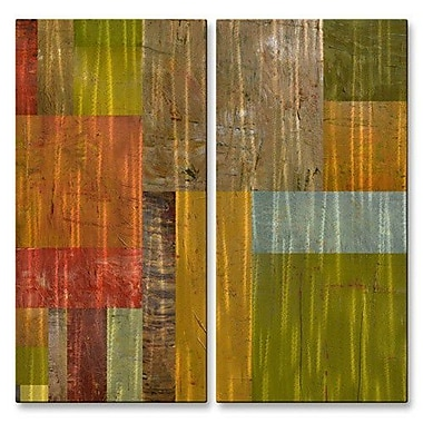 All My Walls 'Thick Paint Abstract I' by Michelle Calkins 2 Piece Graphic Art Plaque Set