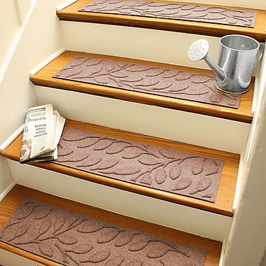 Bungalow Flooring Aqua Shield Medium Brown Brittany Leaf Stair Tread (Set of 4)